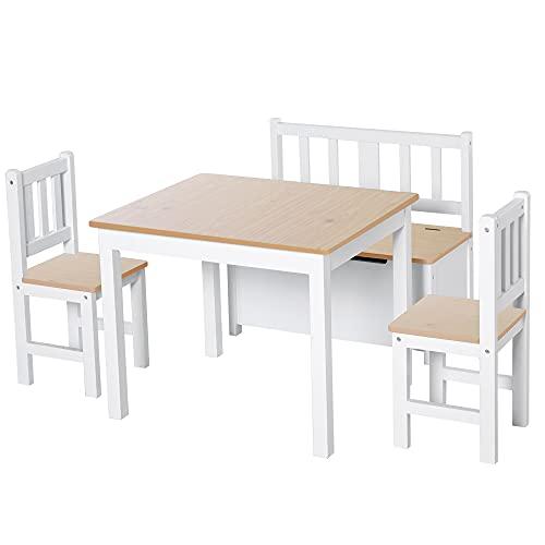 HOMCOM Conjunto de Mesa 2 Sillas y Banco para Niños de Madera con Espacio de Almacenamiento Muebles Infantiles para Sala de Juegos Habitación de Niños Blanco y Natural ✅