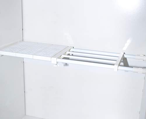 Joytiger - Estante de almacenamiento ajustable para armario, organizador de gabinete, divisor en capas, separador expandible para armario, cocina, baño, librería (48-80,24 cm)