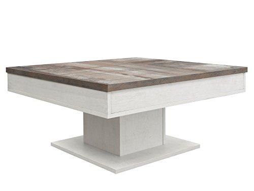 möbelando Couchtisch Sofatisch Holztisch Tisch Wohnzimmertisch Beistelltisch Cobbie I Eiche-geweißt/Eiche-Vintage