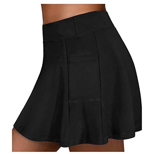 Damen Tennisröcke Yoga Röcke Faltenrock Kurz Culottes Elastic Rock mit Innenhose Laufen Taschen Sportrock für KIMODO Frauen Casual Sport (D-Schwarz, M)