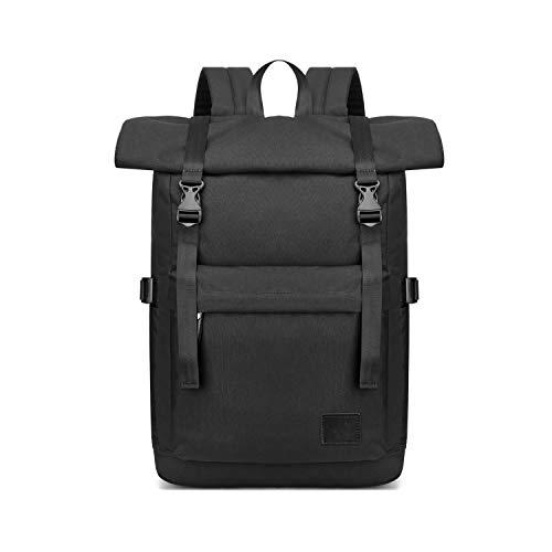 FANDARE Antifurto Zaino Zainetto Scuola Roll Top backpack Espandibile Zaino per 15.6 pollice PC Portatile da Uomo Donna Borsa Universitaria Impermeabile Daypacks per Viaggio Lavoro Scuola Nero
