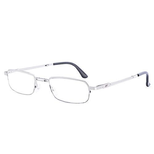 CAOXN Gafas De Lectura Masculinas con Bloqueo Azul, Media Montura De Aleación Ultraligera Y Lente De Resina De Radiación Antifatiga, Dioptrías +1,00 A +3,00,+2.00