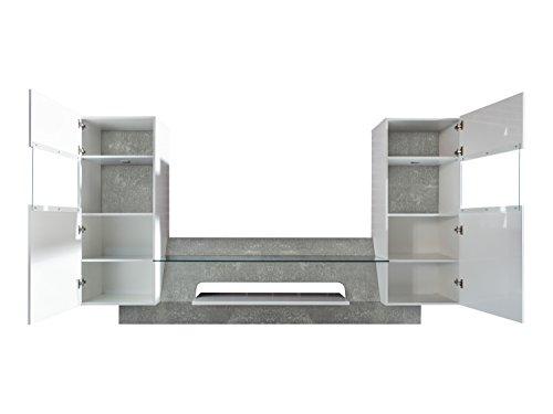 trendteam AR00235 Wohnwand TV Möbel Weiß Glanz, Absetzung Grau Beton Nachbildung, BxHxT 261x147x47 cm - 5