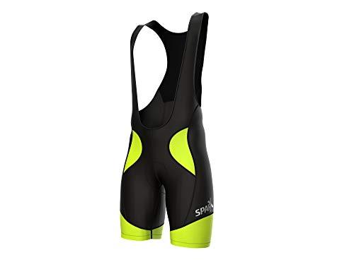 Sparx Men Cycling Bib Shorts Bicycle Bike Racing Bibs Short Padded (XL, Black/Neon Green)