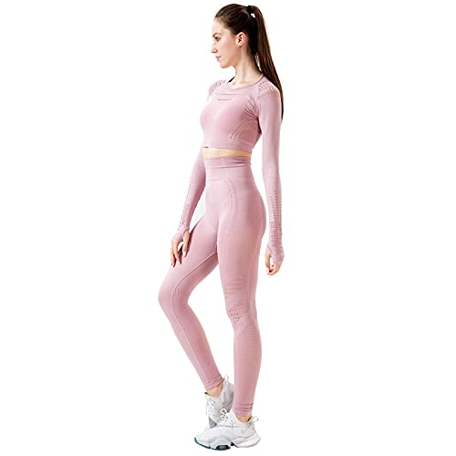 Baobaoshop Ropa De Yoga Leggings Sin Costuras para Mujer, Traje De Yoga para Fitness, Ropa De Gimnasia, Pantalones De Cintura Alta, Sujetador Deportivo, Conjunto De Entrenamiento M Rosa