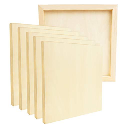 BELLE VOUS Holz Malgrund Leinwand Rahmen Malplatte Natur (6Stk) – 20x20cm Wood Panel aus Birkenholz – Mixed-Media Leinwand Bildträger Leinwandbrett für Enkaustik, Kunst, Malen, Farbe Gießen, Basteln