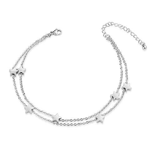 VU100 Estrella Tobilleras para Mujer ajustable Regalo Pulsera de Tobillo Plata