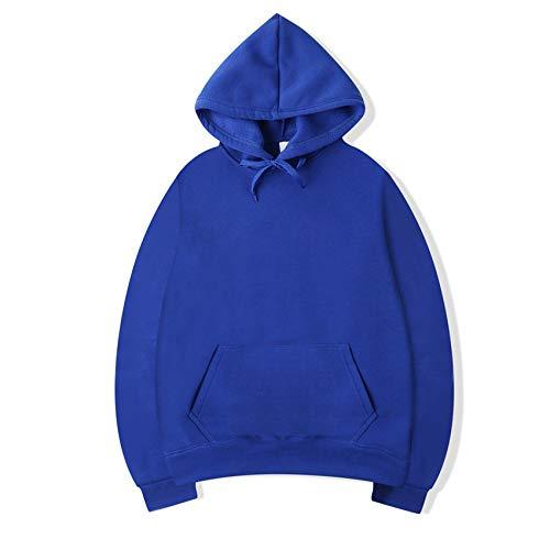 Hombres Pulóver de Manga Larga Acanalado Efecto Básico Fashion SuéterSuéter con Capucha en Color Liso Transferencia térmica Azul S