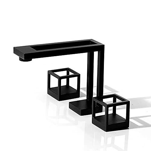 ALYHYB Geometría Creativa Grifo, Dos Mangos extendidos 8 Pulgadas Baño Grifo Negro 3 Piezas Faucets de Lavabo para el hogar Cabinete de baño Lavabo de Lavabo, Grifo Fregadero frío y fregado