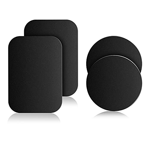 Mount Metal Plate for Cell Phone Magnet Holder Magnetic Car Mount with Strong Adhesive Sticker, 2 Round and 2 Rectangle Black