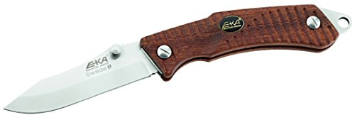 EKA Swede 9, Einhandmesser, 12C27 Sandvik Stahl, Back Lock, Bubinga-Holzugriffschalen, Fangriemenöse, Gürtelclip,