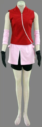『BS022 NARUTO -ナルト- cosplay コスプレ衣装 コスチューム ♥春野サクラ 二代目 疾風伝 5点セット001-C22 (M)』のトップ画像