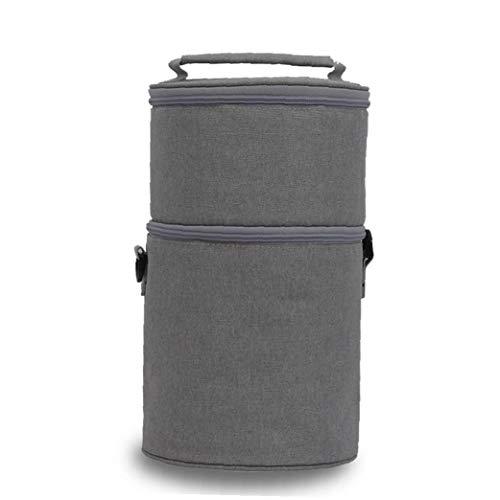 JRXyDfxn Tragbare Mittagessen-Beutel mit Reißverschluss Isolierung Runde Lunch Box Tote Cooler Lunch Bag für Picknick im Freien Grau