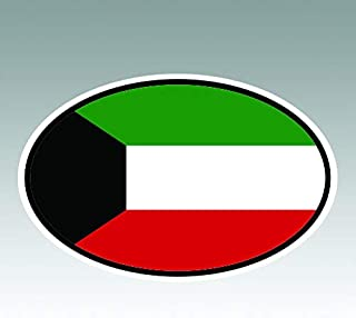 RDW Kuwait Oval Sticker - Die Cut - Decal - KW v7 Country Code Euro - Size: 4.99