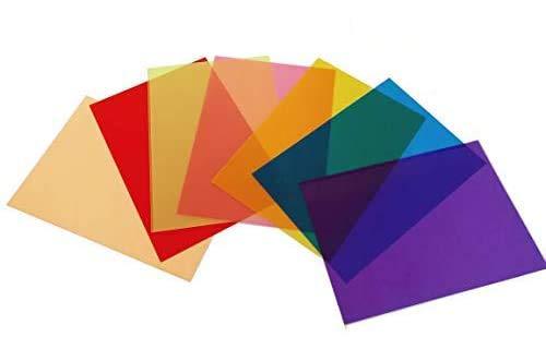 Best Starloop 21Pack Light Gels Colored Overlays Transparency Color Film Plastic Sheets Correction Gel Light Filter Sheet, 8.5x11 Inch,7 Assorted Colors 3 Sets