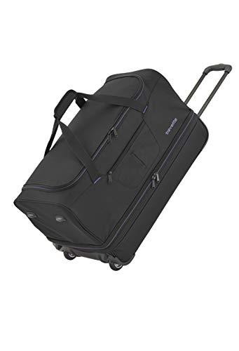 travelite 2-Rad Trolley Reisetasche Gr. S mit Dehnfalte, Gepäck Serie BASICS: Weichgepäck Reisetasche mit Rollen mit extra viel Volumen, 096275-01, 55 cm, 51 Liter (erweiterbar auf 64 Liter), schwarz
