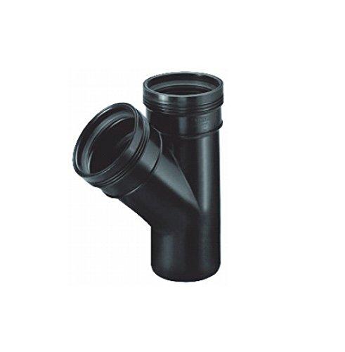 AquaForte 45 ° T avec 2 x/1 x connecteur/Courroie Connexion Diamètre 110 mm, Noir, 31.2 x 24,3 x 12,6 cm