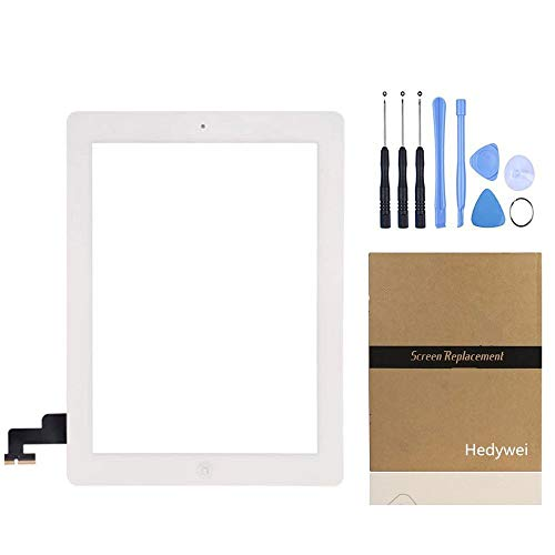 Hedywei for iPad 2 Touch Screen Digitizer Front Panel Repair with Home Button, Tools and Sticker Bianco