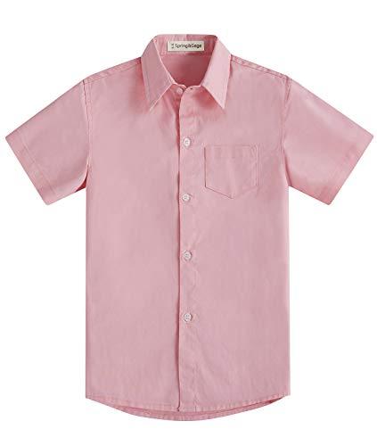 Spring&Gege Jungen Kurzarm Einfarbig Formale Baumwoll Hemden Klassisch Schuluniform Shirts für Kinder Rosa 128 134 (7-8 Jahre)