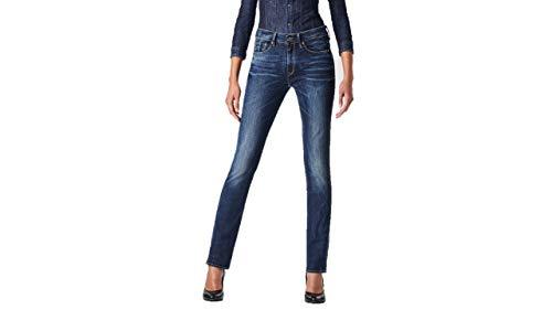 G-STAR RAW Damen 3301 Contour High Waist Straight Jeans, Blau (dk aged...