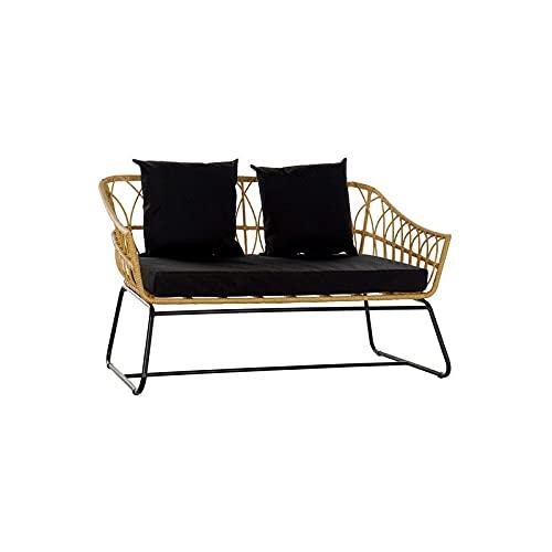 Item Sofa Rattan, Kunststoff, Metall, 132 x 58 x 80 cm, abnehmbarer Bezug
