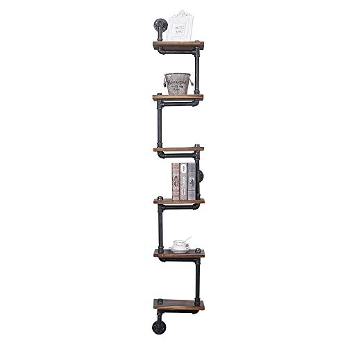 Industrial Pipe Shelving Wall Mounted,11.8in Rustic Metal Floating Shelves,Steampunk Real Wood Book Shelves,Wall Shelf Unit Bookshelf Hanging Wall Shelves,Farmhouse Kitchen Bar Shelving(6 Tier)