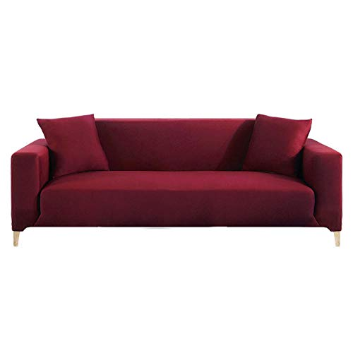 HXTSWGS Jacquard Stretch Sofaüberzug,Elastic Sofa Cover for Living Room, Sectional Couch Cover, Armchair Slipcover L Shaped Corner, Sofa Cover-Burgundy_2 Seater 145-185cm