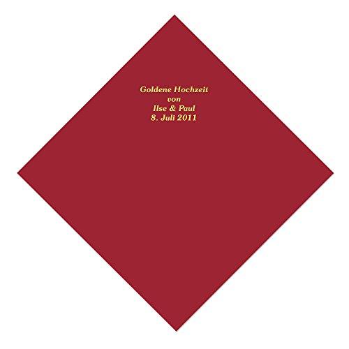 50 bordeauxfarbene Servietten mit Ihrem Namen in goldenen Lettern, ca. 33,5 x 33,5 cm, 3-lagig