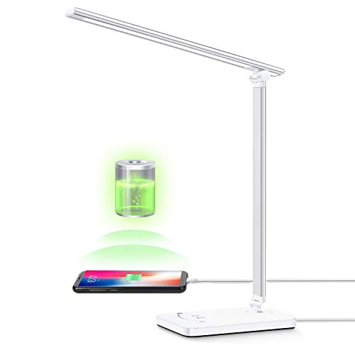 Lámpara de escritorio LED, YIIMER Lámparas de mesa para el cuidado de los ojos con puerto de carga USB, luz de escritorio de oficina regulable con 5 modos de color y 5 niveles de brillo