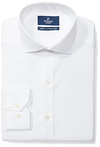 Amazon Brand - Buttoned Down Men's Tailored Fit Cutaway-Collar Solid Non-Iron Dress Shirt (No Pocket), White, 15.5