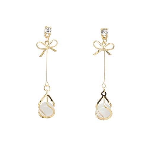 Beiswe 1 Pair Opal Drop Long Earrings Elegant Bowknot Tassel Earrings for Women and Girls Jewellery Christmas Gift (Gold)