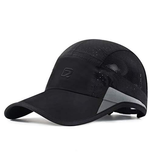 GADIEMKENSD Sportmütze, schnelltrocknend, leicht, atmungsaktiv, unstrukturiert, weich, unisex, Ba20-schwarz, 57-60cm