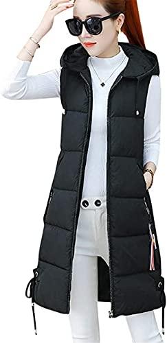 Chaleco de plumón para Mujer, Abrigo de plumón cálido/con Capucha/Chaleco Acolchado Ligero/Cremallera Delgada Suelta de Medio Largo Grueso/Chaleco para Mujeres Niñas Invierno