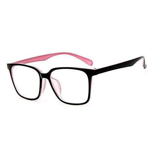 Without Marcos de Gafas 2020 Moda Mujeres Gafas Marco Menaje Hombres Eyeaglasses Negro Marco Vintage Cuadrado Lente Borrar Lente Casado Marco de espectáculo óptico (Frame Color : Black Pink)