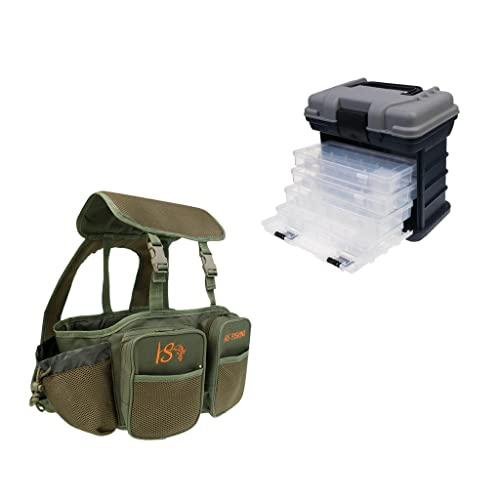 MagiDeal Sac à Dos en Toile de Coffre de Pêche à la Carpe + Boîte de Rangement 4 Couches Portable Tackle Box