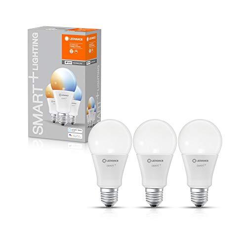 LEDVANCE Smarte LED-Lampe mit WiFi Technologie, Sockel E27, Dimmbar, Lichtfarbe änderbar (2700-6500K), ersetzt Glühlampen mit 100 W, SMART+ WiFi Classic Tunable White, 3er-Pack