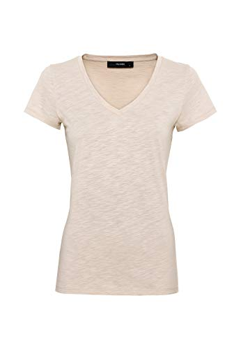 HALLHUBER T-Shirt mit V-Ausschnitt leicht tailliert Hellbeige, XXL