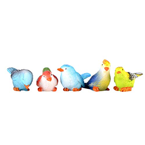 Toyandona 5 piezas figuras de pájaros de resina simulación mini animal pájaro modelo juguetes para decoración del hogar miniatura hada jardín bonsái ornamento (patrón mixto)