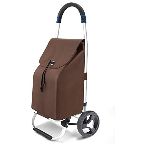 Foldable Luggage Cart, Shopping Trolley, Folding Shopping Trolley on 2 Wheels with Detachable Bag And Foldable Design, Max Capacity 50Kg, 35L,Brown