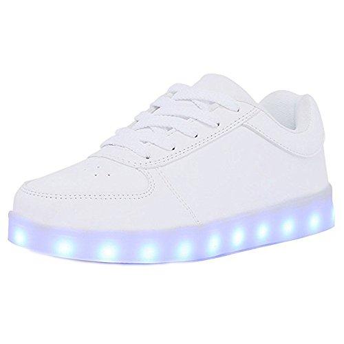 zhenghewyh Unisex LED Turnschuhe Aufhellen Schuhe 7 FarbenUSB-Ladung Beiläufig Ausbilder Schnüren (39, Weiß)