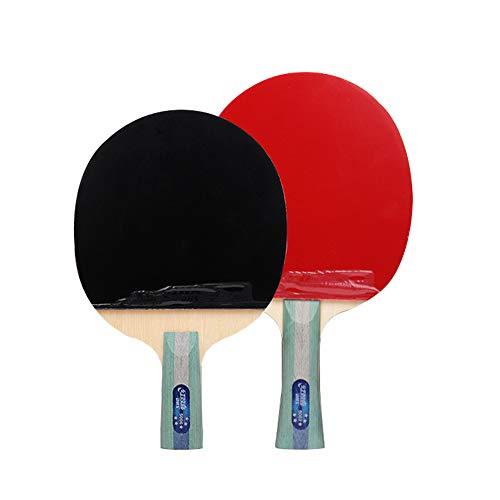HHXD Juego de Raquetas de Ping Pong, Juego de Entretenimiento para 2 Personas,5 Estrellas Tipo, Esponja Elástica alta, con Bolsa/Double rackets/C