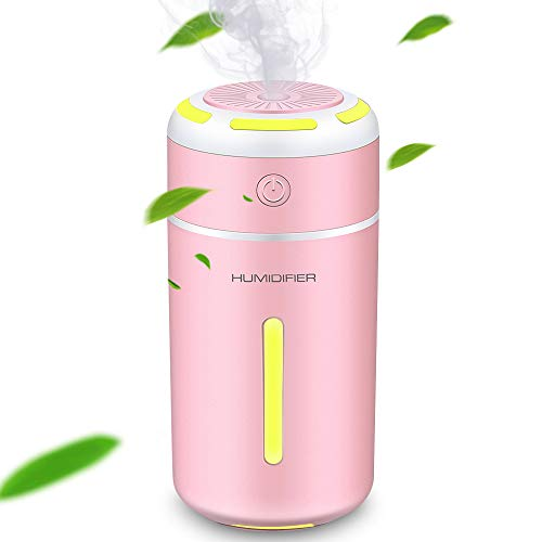 MEIDI Humidificador Ultrasónico,Difusor de humidificador de Vapor frío ultrasónico silencioso portátil USB con Modo de Niebla Ajustable, 7 Luces nocturnas LED fascinantes (Pink)