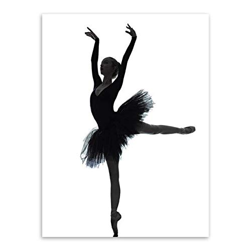 UIOLK Moderno Blanco y Negro Elegante Hermosa Bailarina coherente Foto Arte impresión Cartel Cuadro de Pared Lienzo Pintura Bailarina decoración para el hogar
