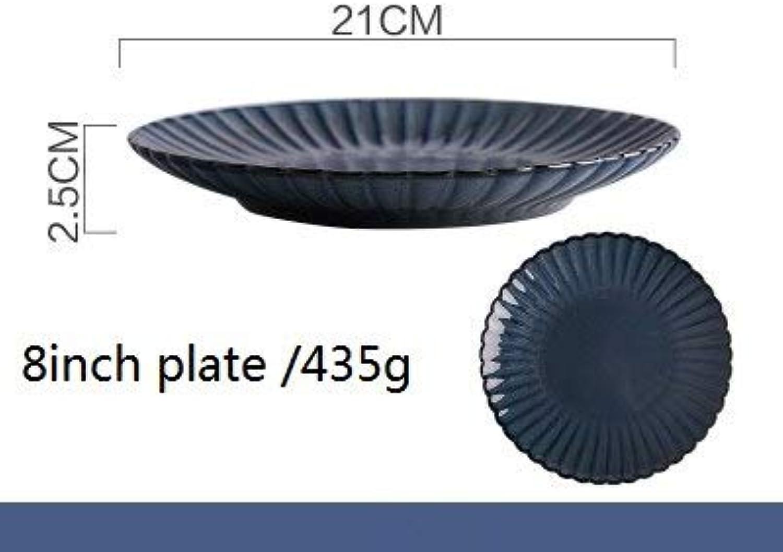 FIOLTY 1pc KINGLANG de Simple Nordic mais Plate Rétro élégante en céramique Vaisselle de Vaisselle Domestique  Plaque 8inch