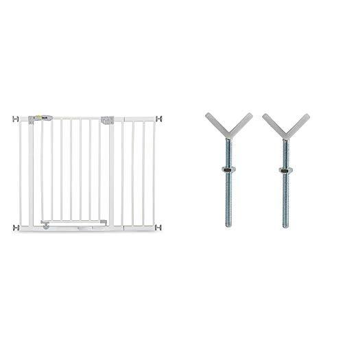 Hauck 597026- Cancello di sicurezza apribile e bloccabile, 75 - 81 cm, Con prolunga 21 cm + Hauck 596999 - Mandrino a Y, 2 pz