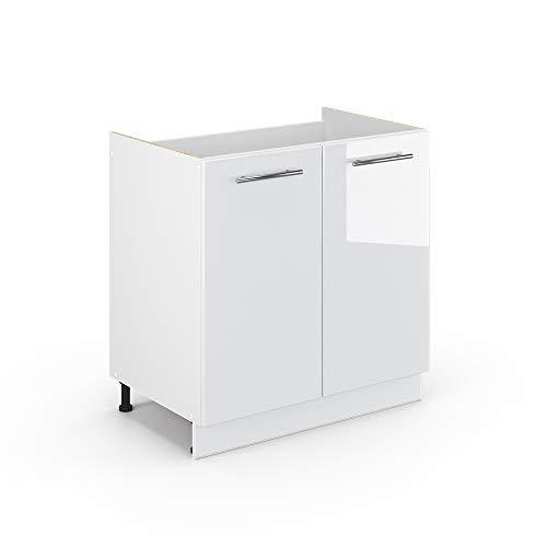 Vicco Küchenschrank Hängeschrank Unterschrank Küchenzeile Hochglanz Fame-Line (Weiß Hochglanz, Spülenunterschrank 80 cm)
