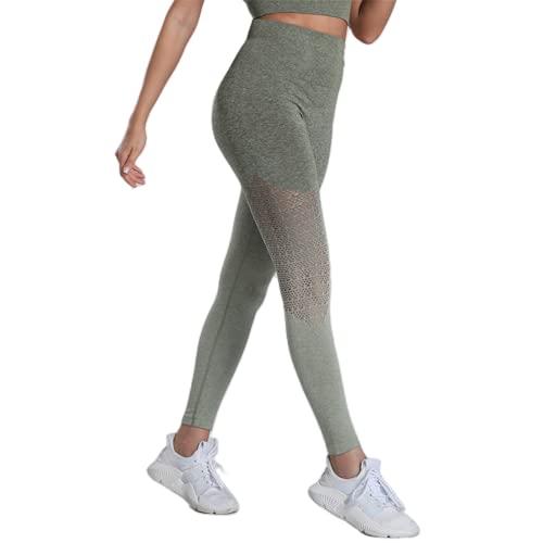 QTJY Pantalones sin Costuras de Yoga para Gimnasio para Mujer, Pantalones elásticos de Cintura Alta para Levantamiento de la Cadera, Pantalones Deportivos para Celulitis, Entrenamiento físico, A L