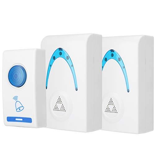 Draadloze deurbel 100 m draadloze deurbel 32 melodieën Home deurbel met knipperend LED-licht als deurbel, bevat 1 externe knop en 2 plug-ontvangers