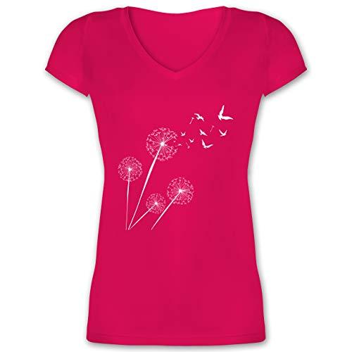 Statement - Pusteblume Vögel - XS - Fuchsia - Tshirt Vogel Damen - XO1525 - Damen T-Shirt mit V-Ausschnitt