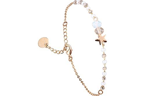 Clyda - Pulsera de cadena de acero con diseño de estrella de color dorado y cristal de Swarovski, color champán